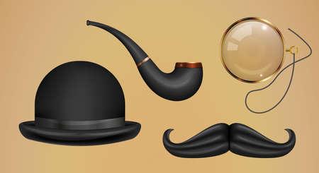 Gentleman set. Bowler hat, smoking pipe, gold monocle, mustache. Realistic 3D vector illustration.