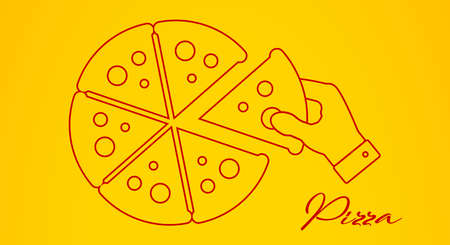 Hand takes a slice of pizza. Flat line vector illustration.
