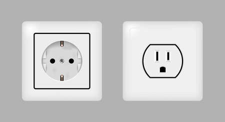 Electrical outlets. European, Russian and North American. Realistic 3D vector illustration.