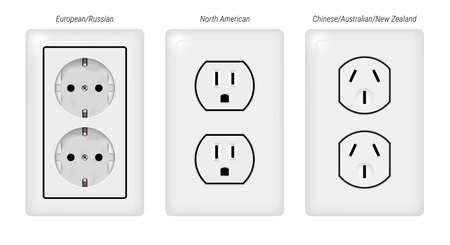 Double electrical sockets. Realistic 3D vector illustration. Vettoriali