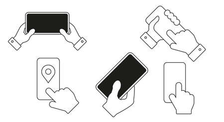 Smartphone hand icon set. Flat style vector illustration. Vettoriali