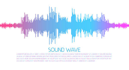 Music sound wave spectrum. Flat style vector illustration. Vettoriali