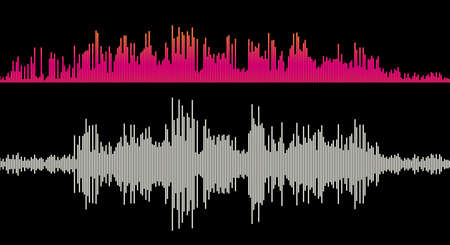 Music sound wave amplitude. Equalizer bars. Flat style vector illustration.