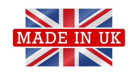 Made in UK, United Kingdom label bagde. Waving Union Jack flag. Vector illustration.