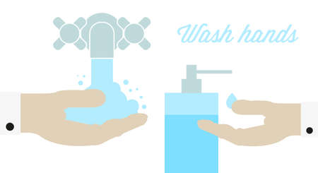 Wash hands. Faucet with water and liquid soap. Flat style vector illustration. Vettoriali