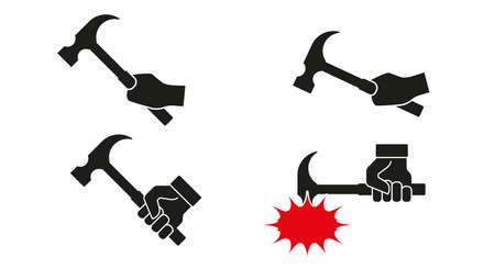 Hand with hammer icon set. Flat style vector illustration.