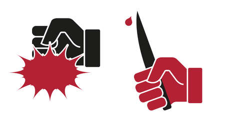 Demands, violence, hand beats, hand with a knife. Flat style vector illustration.