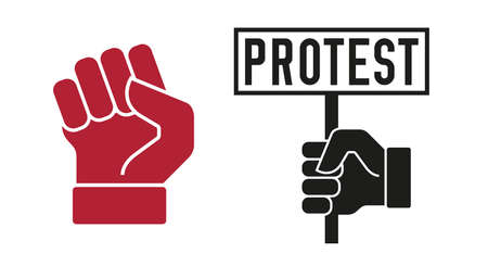 Protest hand holds placard and rased fist. Flat style vector illustration. Vettoriali