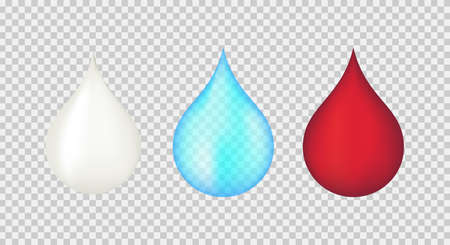 Cream or milk, water, blood drops. Realistic 3D vector illustration.