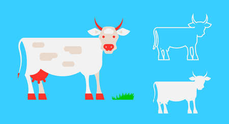 The cow is grazing. Simple silhouette of a cow. Cow outline. Flat style vector illustration.