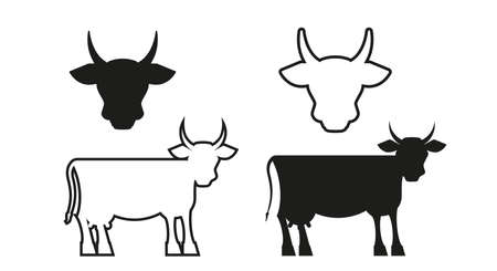 Cow simple silhouettes. Cow heads. Flat style vector illustration.