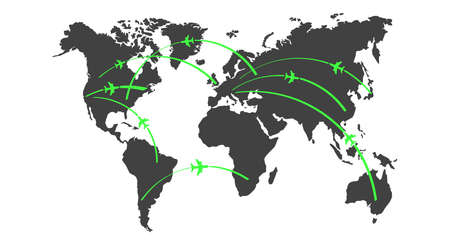 Aircraft routes world map. Flat style vector illustration. Vettoriali