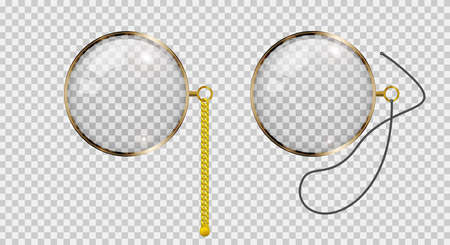Gold monocle on chain and lace. Realistic 3D vector illustration.