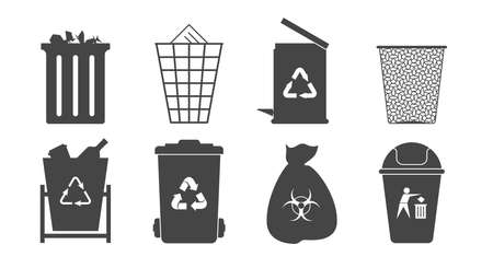 Eight black and white trash cans and trash bins icons. Flat style vector illustration. Vettoriali