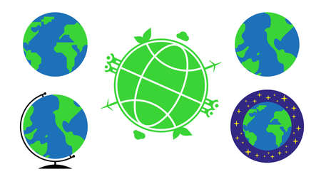 Five different earth and globe icons. Flat style vector illustration.