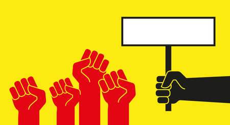 Red protest hands with raised fists. Black hand holding a placard. Protest banner vector template.