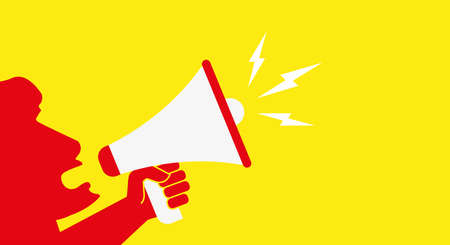 The leader speaks into a megaphone. Protest banner vector template.