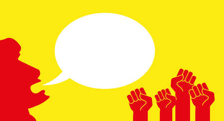 Red protest hands with raised fists. The leader of the rioters says something. White speech bubble. Protest banner vector template.