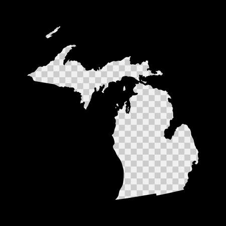 Michigan US state stencil map. Laser cutting template on transparent background. Die cut vector shape. Silhouette mockup for any purposes.