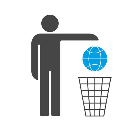 We are losing Earth. Man throws the Earth into the trash can vector icon. 矢量图像