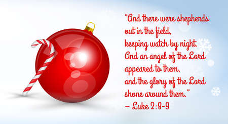 Christmas card with bible quote. Big shiny Christmas ball with candy cane. Merry Christmas and happy New Year related 3d realistic vector illustration.