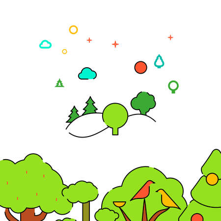 Hilly landscape with trees filled line vector icon, simple illustration. Forest, wood related bottom border.