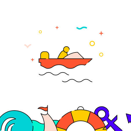 Power boat, motorboat filled line vector icon, simple illustration, water safety and watercraft related bottom border.