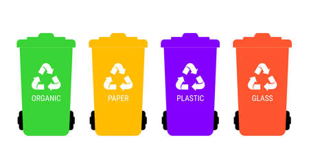 Separate garbage collection. Multicolored trash cans with corresponding labels. Vector illustration.