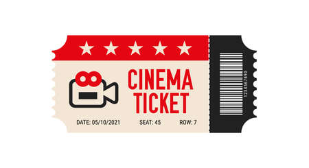 Cinema ticket with barcode vector icon. Movie ticket template. Realistic cinema theater admission pass mock up coupon. Vintage retro old ticket red and black.