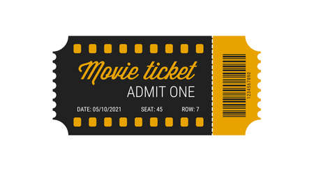 Cinema ticket with barcode vector icon. Movie ticket template. Realistic cinema theater admission pass mock up coupon. Vintage retro old ticket black and yellow.