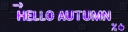HELLO AUTUMN glowing purple neon lamp sign. Realistic vector illustration. Perforated black metal grill wall with electrical equipment.