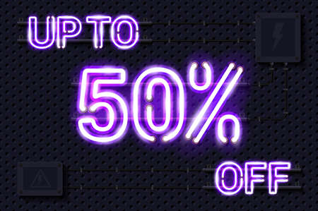 UP TO 50 percent OFF glowing purple neon lamp sign. Realistic vector illustration. Perforated black metal grill wall with electrical equipment.