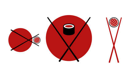 Japanese sushi emblems. Flat vector illustration isolated on white.