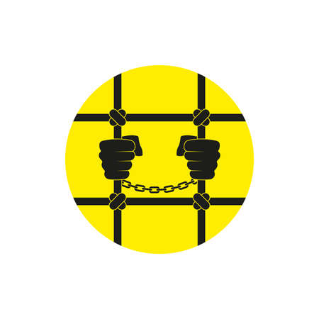 The prisoners hands are held by the bars. Flat vector illustration isolated on white.