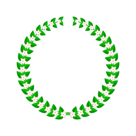 Laurel wreath with flowers. Flat vector illustration isolated on white. Vettoriali