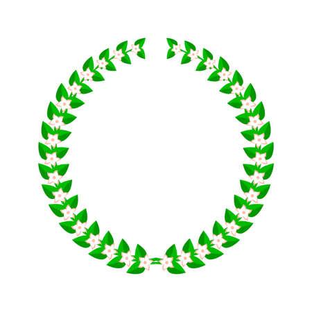 Laurel wreath with flowers. Flat vector illustration isolated on white. Vektorové ilustrace