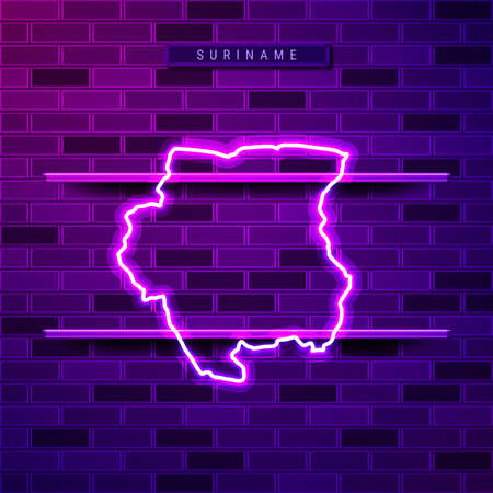 Suriname map glowing neon lamp sign. Realistic vector illustration. Country name plate. Purple brick wall, violet glow, metal holders.