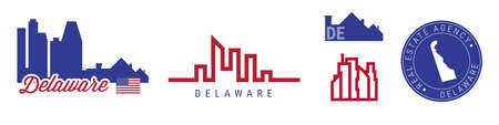 Delaware real estate agency. US realty emblem icon set. Flat vector illustration. American flag colors. Big city and suburbs. Simple silhouette map in the round seal stamp.