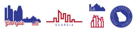 Georgia real estate agency. US realty emblem icon set. Flat vector illustration. American flag colors. Big city and suburbs. Simple silhouette map in the round seal stamp.