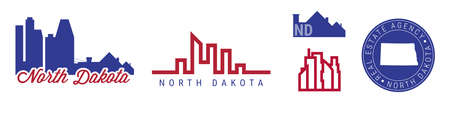 North Dakota real estate agency. US realty emblem icon set. Flat vector illustration. American flag colors. Big city and suburbs. Simple silhouette map in the round seal stamp.