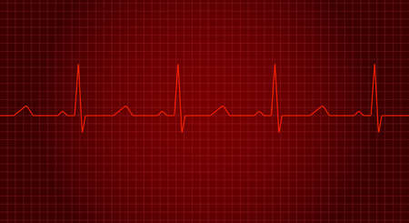 Red heart rate graph. Heart beat. Ekg wave. Heartbeat line. Vector illustration