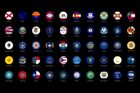 USA American states all flags in alphabetical order. All 50 US states vector flags set. Round circle flag buttons with all the states names.
