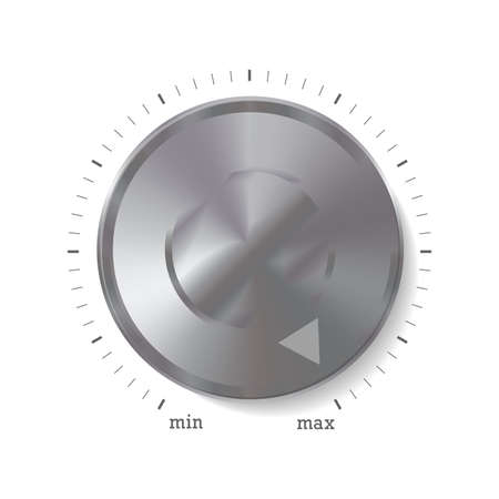Volume button, music knob with metal aluminium or steel, chrome texture. Vector illustration isolated on white.