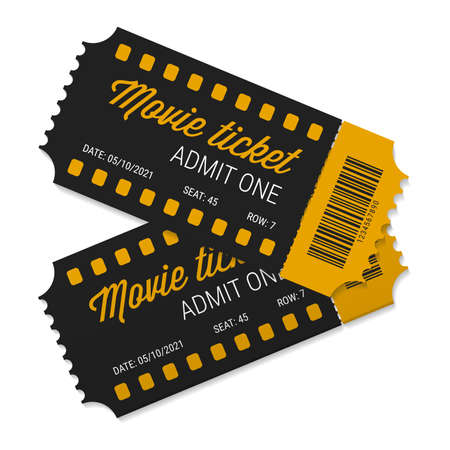 Two cinema tickets close up top view. Tear-off ticket. Black and yellow tickets with barcode. Vector illustration isolated on white.