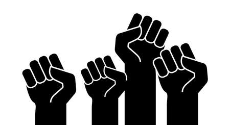 Black raised up hands. Protest power fists. Vector illustration