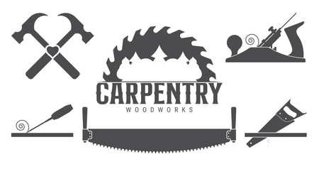 Carpentry tools, labels template. Sawmill emblem. Vector illustration