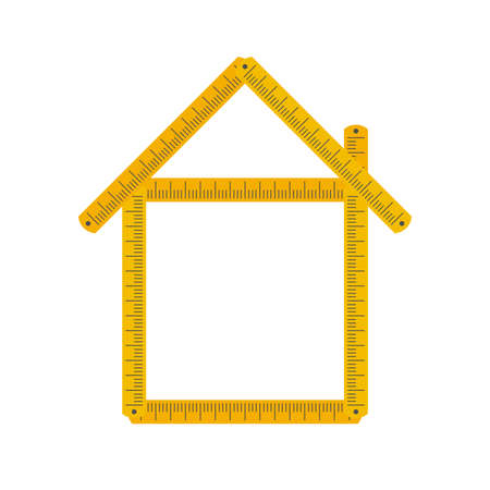 Home icon made from yellow folding rule. Building, house development. Mortgage calculator idea. Flat style vector illustration isolated on white background. Vektorgrafik