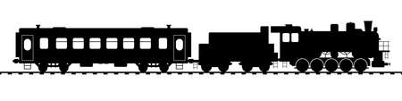 Retro tourist train with steam locomotive and vintage wagon. Flat style vector illustration isolated on white background.