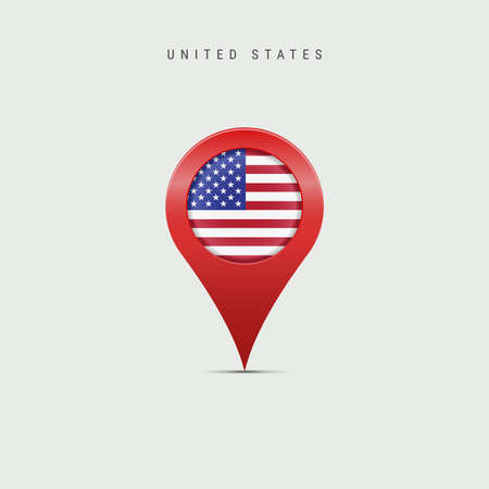 Teardrop map marker with flag of United States. American flag inserted in the location map pin. Vector illustration isolated on light grey background.