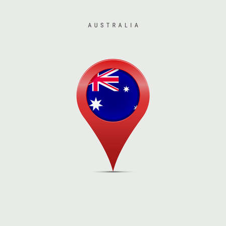 Teardrop map marker with flag of Australia. Australian flag inserted in the location map pin. Vector illustration isolated on light grey background.